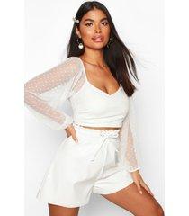 effen blouse van dobby-mesh voor korte maten, wit