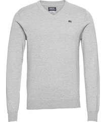 classic v-neck stickad tröja v-krage grå sebago