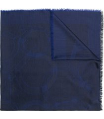 salvatore ferragamo logo printed shawl - blue