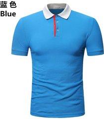 camiseta de solapa de casual tops hombre verano nuevo polo casual-azul