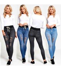 womens distressed drawstring denim legging ripped ladies high waist jegging jean