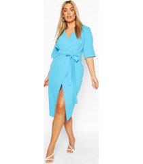 plus wrap self belted midi dress, turquoise