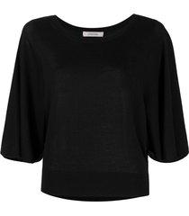 dorothee schumacher surprising attitude cape-sleeve knit top - black