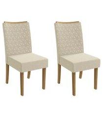 conjunto 2 cadeiras estofadas linho kappesberg cad129 freijó/bege