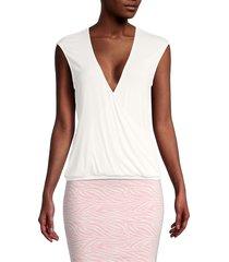 bcbgmaxazria women's sleeveless surplice top - harbor - size xs