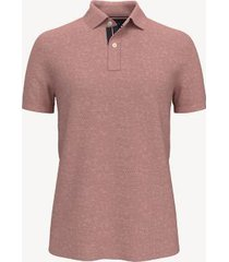 tommy hilfiger men's essential knit polo sweater medium pink heather - s