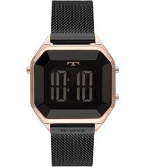 relógio technos crystal digital aço 38mm feminino