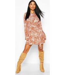 petite floral belted skater dress, rust