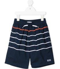 boss kidswear striped drawstring swim shorts - blue