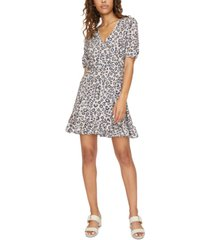 sanctuary animal-print mini wrap dress