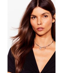 womens star-t the day right link chain necklace - silver