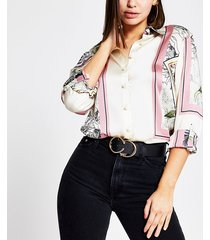 river island womens pink printed long sleeve boyfriend fit shirt