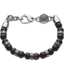 diesel men's beaded black line agate bracelet