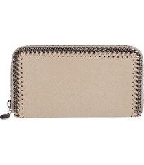 beige faux leather falabella wallet