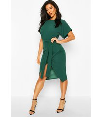 angel sleeve belted wrap midi dress, emerald