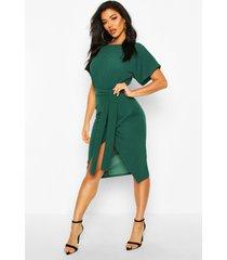 angel sleeve belted wrap midi dress, emerald