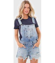 macaquinho calvin klein jeans destroyed azul - azul - feminino - dafiti