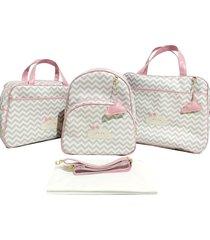 kit bolsa maternidade completo com mochila alinhado baby chevron com nuvem rosa - 4 peças