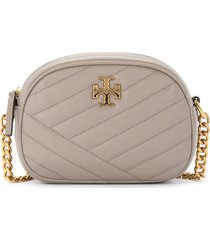 tory burch kira small chevron shoulder bag in gray quilted leather