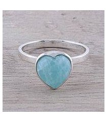 amazonite cocktail ring, 'gemstone heart' (india)