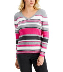 karen scott blair cotton striped rib v-neck sweater, created for macy's