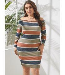 mini manga larga a rayas multicolor con hombros descubiertos y talla grande vestido