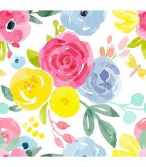 papel de parede floral aquarela p/ quarto feminino 57x270cm - multicolorido - dafiti