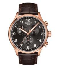 men's tissot chrono xl collection chronograph leather strap watch, 45mm