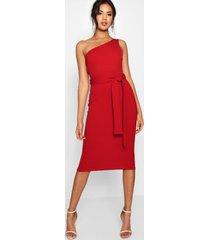 one shoulder belted midi dress, red