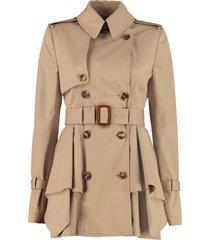 alexander mcqueen short cotton trench coat