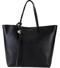 skull charm leather shopper