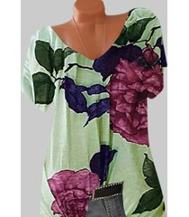 plus size floral print batwing sleeve tee