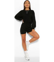knitted oversized volume sweater and shorts co-ord, black