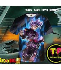 camiseta tshirt 3d full print black goku silver