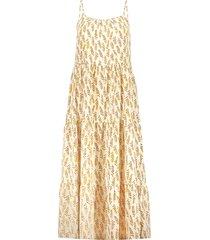 geisha 17048-26 010 jurk spaghetti aop leaves off-white/mustard