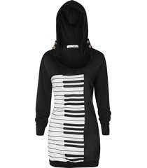 plus size musical notes pullover hoodie
