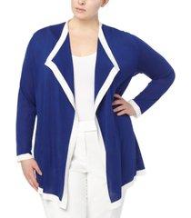 anne klein plus size colorblocked drape-front cardigan sweater
