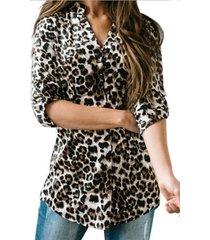 blusa de manga larga con cuello en v de leopardo gris
