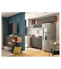 cozinha compacta carmenére 5 pt 2 gv com armário suspenso multiúso 2 pt chumbo e castanho