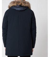 herno men's fur hooded parka - navy - 52/xl