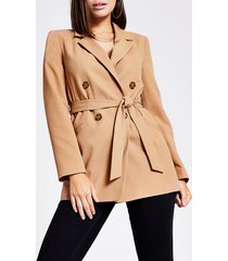 river island womens beige double breasted belted blazer