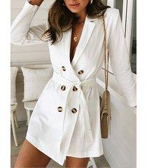 blanco cinturón diseño cuello con muesca mangas largas formal vestido