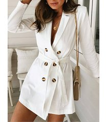 white belt design notch collar long sleeves formal dress