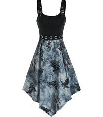 punk eagle print grommets buckle dress