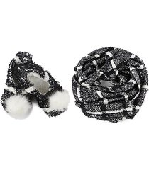 perfect plaid knit shawl & plush-lined faux fur slipper set