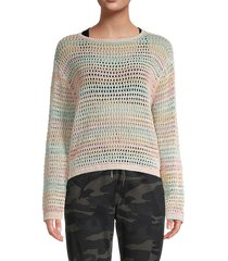 rd style women's crochet pullover - coral - size m