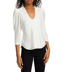 frame women's puff-sleeve silk v-neck top - blanc - size xs