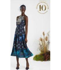 midi dress embroidered halter - black - s