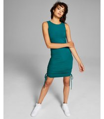 and now this women's ribbed side-ruched dress