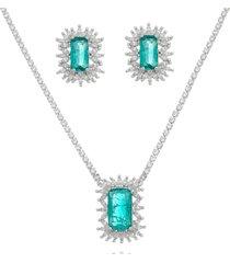 conjunto lua mia joias princesa zircônias brancas e pedra verde banho ródio
